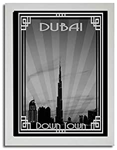 Dubai Skyline Down Town - Black And White With Silver Border F03-m (a2) - Framed