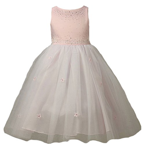 (KID Collection Girls Satin Tulle Ballerina Dress 2 Pink (Kid 1110) )