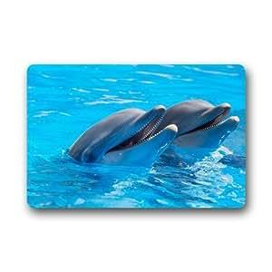 Custom delfín peces océano felpudos cubierta antideslizante lavable a máquina interior y exterior para cuarto de baño decoración de la cocina alfombra