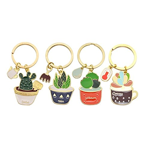 Stock Show 4Pcs/Pack Cute Succulent Cactus Pot Keychain Creative Plants Charm Pendants Keyrings for Car Key Holder Women Girl Purse Bag Key Chain Ring Kids Friends Dog Lover Gift