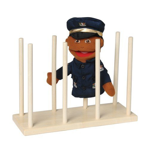 Constructive Playthings Wooden Puppet Stand, Display Holds 8 Puppets