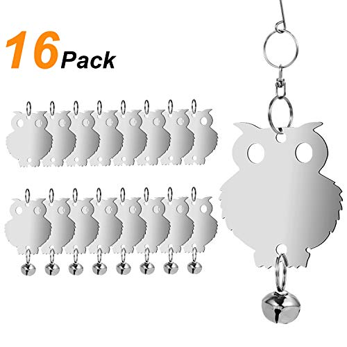 (Bird Repellent,Owl Bird Repellent Control, Humane Reflective Scare Rods with Bells ,Effective and Eco-friendly Deterrent for Owl Bird, Woodpecker, Pigeons, Starlings,and More-16 Pieces Set)