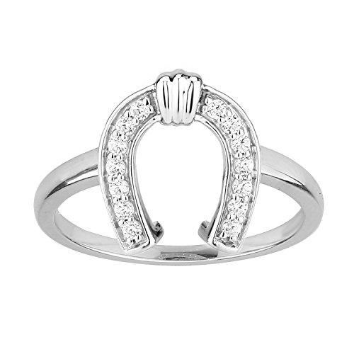 Ring Horseshoe Diamond Ladies (Diamond Horseshoe Ring 1/6 ct tw Diamonds Sterling Silver)