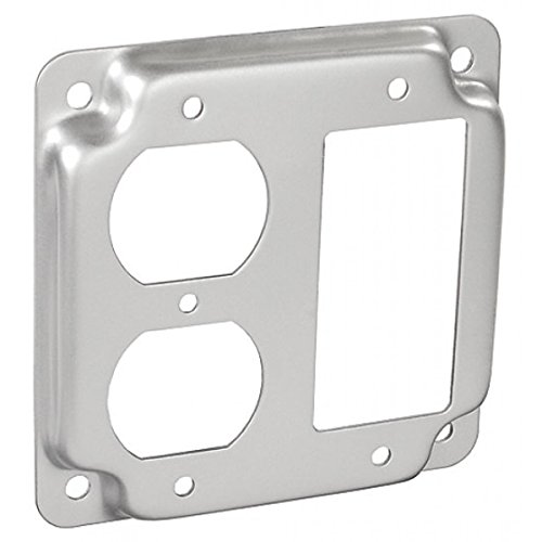 5 Pcs, Steel 4 Square, 1/2 In. Raised Duplex Receptacle & Decorative Or Gfci Receptacle Industrial Surface Cover for Quick Installation of Devices & Switches by Garvin (Image #1)
