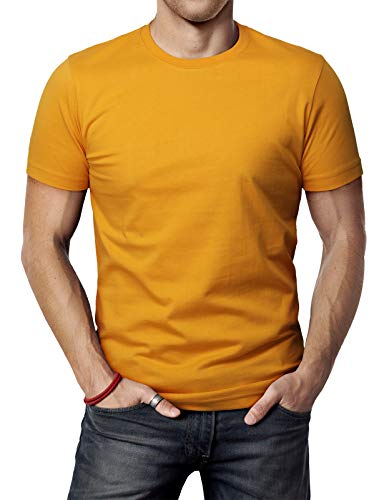 (H2H Mens Casual Solid Patternd Crew-Neck T-sihrt Mustard US XL/Asia 2XL (CMTTS0198))