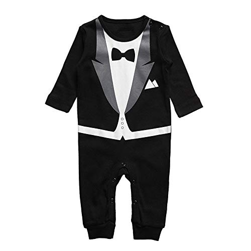 Baby Cotton Romper Suit Bowtie Tuxedo Pyjama (Black, 90)]()