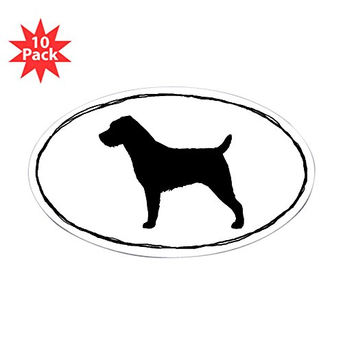 CafePress - Wire Haired Jack Russell Terrier Stickers (10) - Oval Sticker (10-Pack), Bumper Sticker, Car Decal, Euro - Terrier Russell Wirehaired Jack