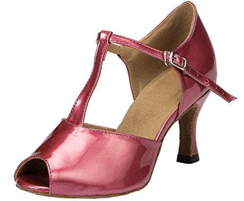 L051 Latin Red Heel dance Ballroom bar PU Womens 3