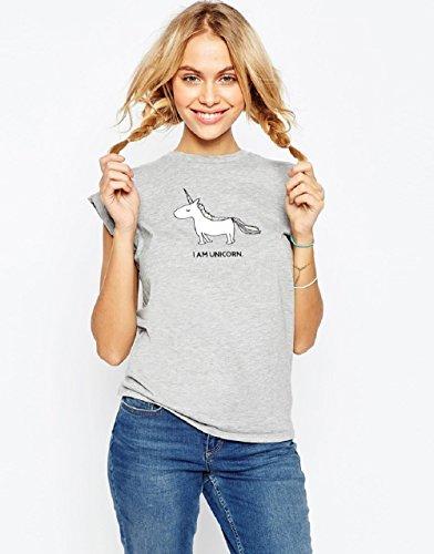 Estate Maglioni Magico A Camicie Corte Camicetta Pigiama Un Maniche Magliette Unicorno Grigio SFwx0Eqwf