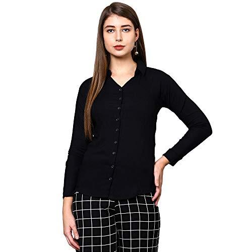 V2 VALUE & VARIETY Women Plain Casual Shirt (Dark Blue)-1121024052