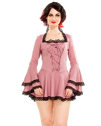 Women's Gothic Victorian Steampunk Vampire Cosplay Costume Bell Sleeves Short Sexy Dress (Pink) (Small)