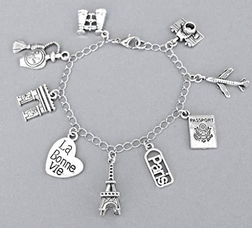 Paris Charm Bracelet or Necklace, Gift for Traveler to France
