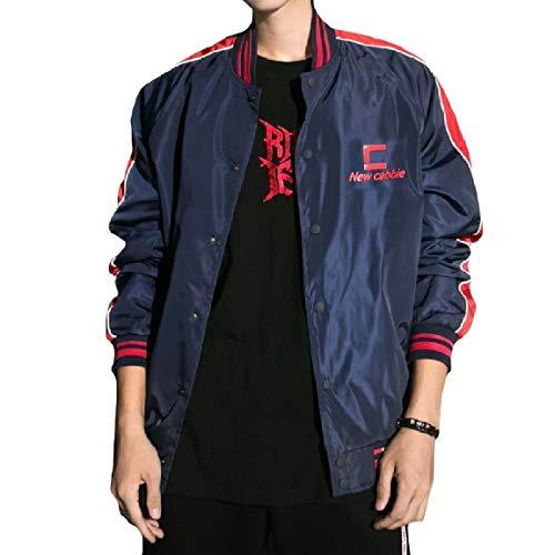 Collar Baseball Dark MogogoMen Stand Long Coat Outwear Blue Splice Button Casual Sleeve qfvBnq4W