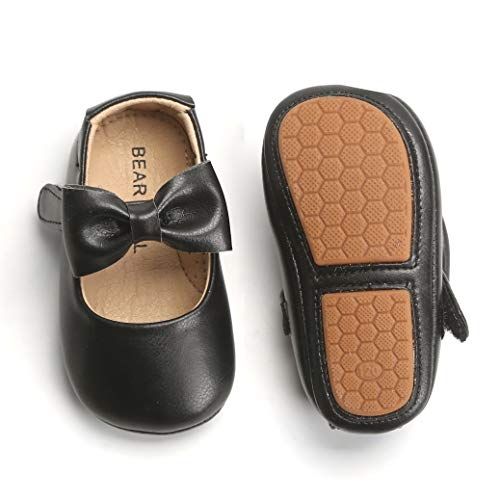 Felix & Flora Infant Toddler Baby Moccasins Soft Sole Bowknot Baby Walking Shoes Mary Jane Dress Shoes£¨12-18 Months Infant,Black (Shoes Dress For Girl)