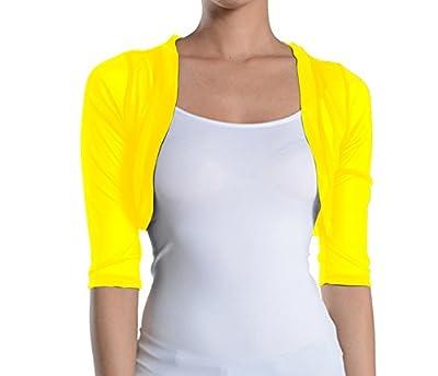 Fashion Secrets Junior`s Sheer Chiffon Bolero Shrug Jacket Cardigan 3/4 Sleeve