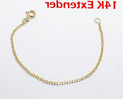 Hemau Cable Chain Necklace Extender for Pendant Charm Real 14K Yellow Gold 1.5mm | Model NCKLCS - 2944 | 5 inches