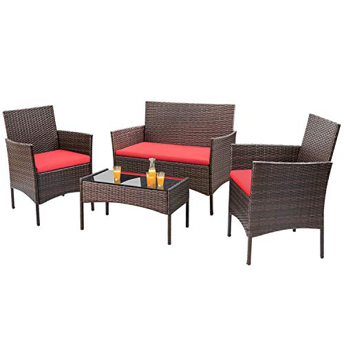Homall 4 Pieces Outdoor Patio Furniture Sets Rattan Chair Wicker Set, Outdoor Indoor Use Backyard Porch Garden Poolside Balcony Furniture Sets (Red)