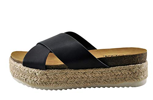 SODA Women's Open Toe Ankle Strap Espadrille Sandal (6, Black C)