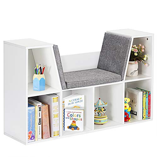 Costzon 6-Cubby Kids Bookcase w/Cushioned Reading Nook, Multi-Purpose Storage Organizer Cabinet Shelf for Children Girls & Boys Bedroom Decor Room (White) ()