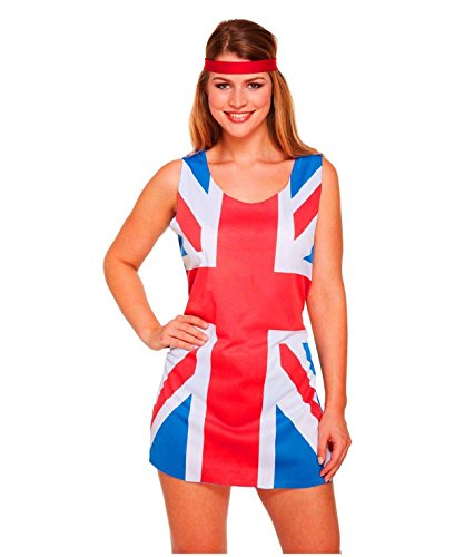 Rimi Hanger Womens Union Jack 90s Fancy Dress Ladies Sleeveless Ginger Spice Girls Outfit One Size