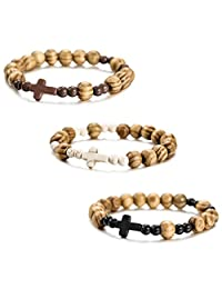 MOWOM 3~12PCS Alloy Genuine Leather Wood Bangle Bracelet Cross Pentagram Pentacle Bead Mala Elastic Rope Adjustable Set