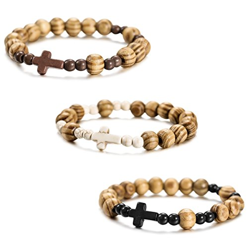 Wood Bracelet Bangle - MOWOM 3PCS Alloy Genuine Leather Wood Bracelet Bangle Cross Bead Elastic Rope Set