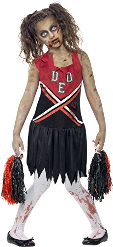 Smiffy's Children's Zombie Cheerleader Costume, Blood Stained Dress & Pom Poms, Color: Red & Black, Ages 7-9, Size: Medium, 43023