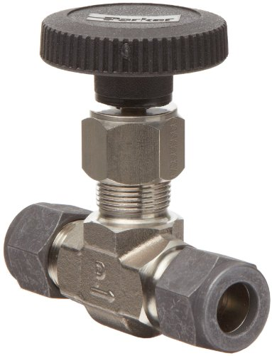 Parker V Series Stainless Steel 316 Needle Valve, Inline, Hand Wheel, PCTFE Tipped Stem, 1/2