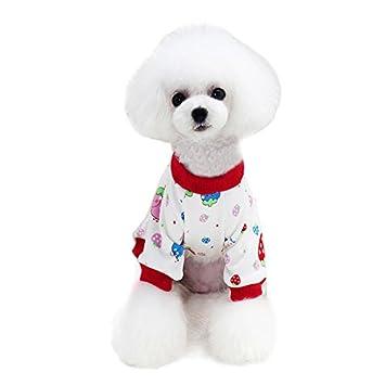 Awhao - Pijama de algodón suave para mascota, diseño de cachorro, para perros pequeños
