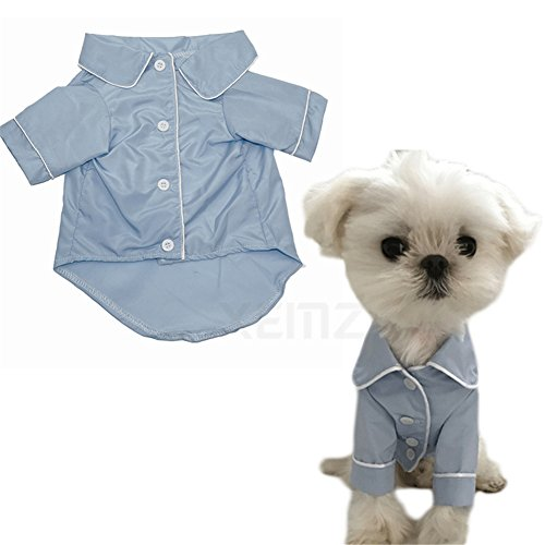 (Cute Pet Dog Pajamas, Puppy Silk T-Shirt Nightdress, Elegant Soft Pet Nightgown Clothes, Fashionable Cat Sleepwear Apparel, Stylish Cozy Christmas Party Costumes, for Small Pet Dogs Cats (S, blue))