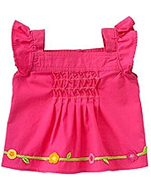 Hot Pink Flower Smocket Shirt by Gymboree