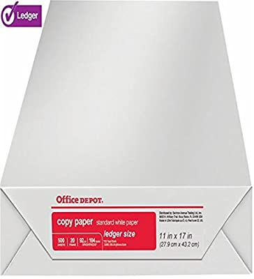 Office Depot Ledger Size Copy & Print Paper Laser/Inkjet/Copier, 11 x 17 inch, 20 Lb., 92 Bright White, Acid Free, Ream, Ream, 500 Total Sheets (536648/Ream)