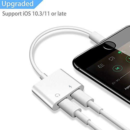 iPhone 7 8 X Splitter Dual Lightning Adapter, 2 in 1 Double