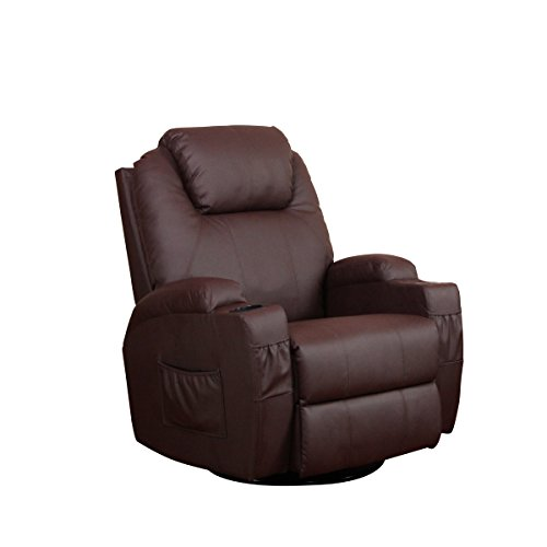 U-MAX Heated PU Leather Massage Recliner Chair With Control Ergonomic Lounge (Brown)