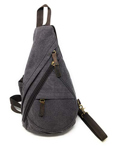 - Nickanny's Conceal Carry Purse Multi Pocket Backpack Sling -Water Repellent Canvas for Women, Girls or Men-Unisex-Crossbody Convertible-Photography Rucksack Bag (Grey Sling)
