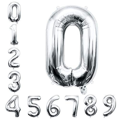 Silver Number Balloons 16inch Helium Birthday Balloons Foil Mylar Digital Balloons for Birthday Engagement Wedding Bridal Shower Anniversary Graduation Celebration Party of 2019 BALLOON (0)