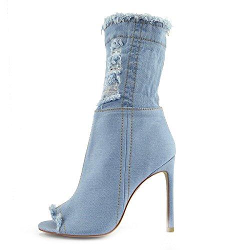 Over Nf446 Footwear Toe High High Denim Open Heel Boots Knee Stilettos Denim Stretch Womens Thigh Kick Light The wqTHW