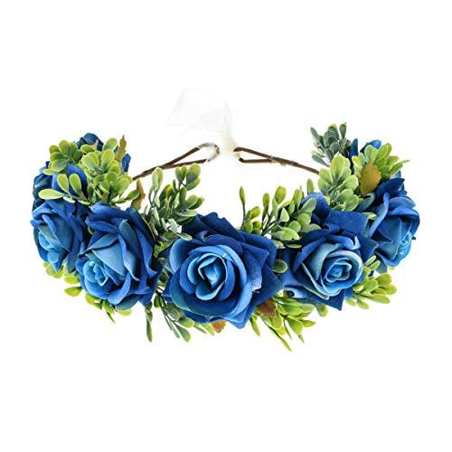 Vividsun Flower Crown Floral Headpiece Festival Wedding Hair Wreath Floral Crown (A/blue)