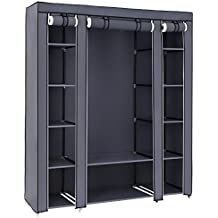 """SONGMICS 59"""" Portable Clothes Closet Wardrobe Storage Organizer with Non-woven Fabric, Quick and Easy to Assemble, Extra Strong and Durable, Gray ULSF03G"""