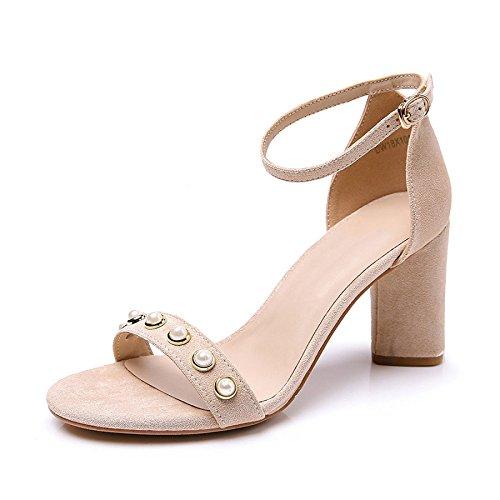 Mode Femmes Talons Confort DKFJKI Hauts étudiant Chaussures pour Beige Version Coréenne Boucles RzwO6qH