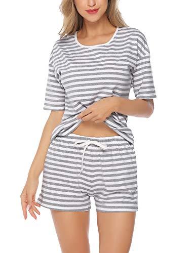 Hawiton Women's Cotton Pajamas Set Striped Shorts Sleepwear Lounge Light Grey/Black/Pink