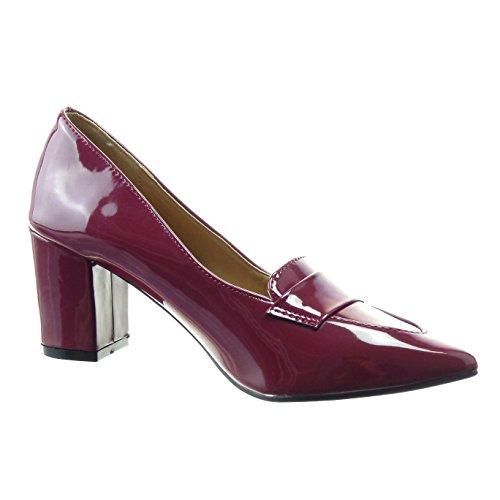 Sopily - Zapatillas de Moda Tacón escarpín Tobillo mujer brillantes patentes Talón Tacón ancho alto 7 CM - Rojo