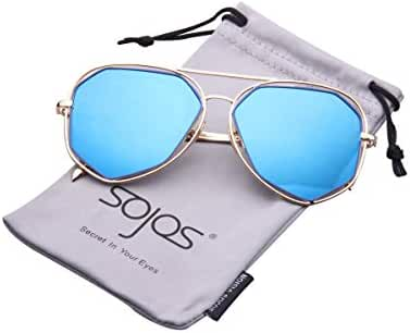 SojoS Fashion Metal Frame Flat Mirrored Lens Sunglasses SJ1004