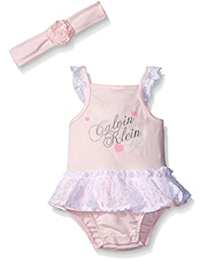 Baby Girls' Combed Interlock Lace Accent Sunsuit with Headband