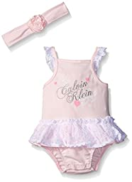 Calvin Klein Baby Girls\' Interlock Lace Accent Sunsuit with Headband, Pink, 3-6 Months