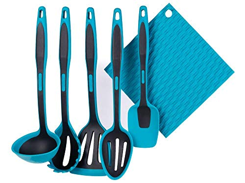 Tools Ladle - LAPEGO Kitchen Cooking Utensil Set - 6 piece Silicone Kitchenware Non-Stick Cooking Tools - Ladle Pasta Fork Slotted Turner Spoon Spatula Slotted Spoon Trivet - BPA Free Heat Resistant Dishwasher Safe