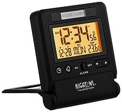 Marathon CL030036P Atomic Travel Alarm Clock Auto Night Light Feature, Batteries Included