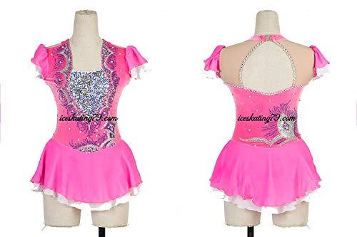 Ice Skating Dress/Girl Custom/Figure Skating Clothe/Twirling/Leotard/Baton Custom/Women/Hot Pink/Velvet/Competition