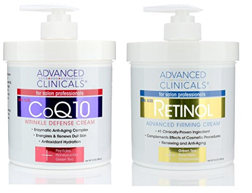 Advanced Clinicals Retinol Firming Cream and COQ10 Wrinkle Defense Cream - 2pc skin care set. 16oz each.