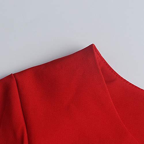 Vintage 1950'S Impression Manches sans Bal Robe Manche RTro Audrey Swing Hepburn Rouge Yogogo Robe De sans 1qxWgSpHqw